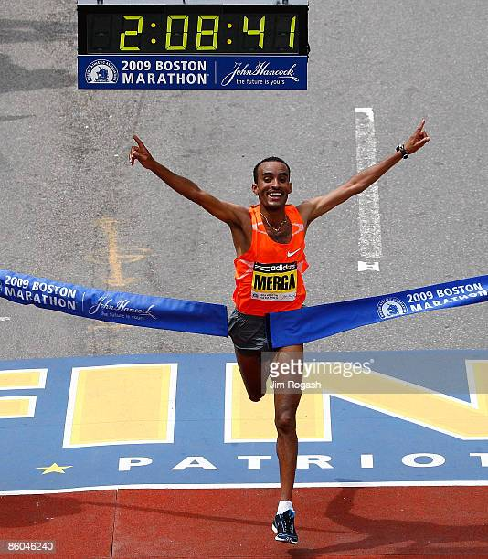 Deriba Merga of Ethiopia wins the men's division of the 113th running of the Boston Marathon in Boston Massachusetts on April 20 2008 in Boston...