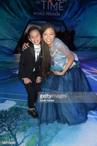 Deric McCabe and Storm Reid attend the premiere of Disney's 'A Wrinkle In Time' at the El Capitan Theatre on February 26 2018 in Los Angeles...