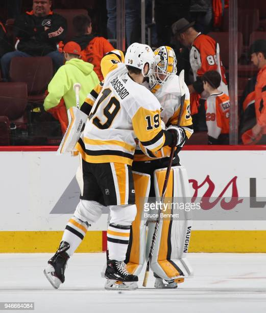Derick Brassard and Matt Murray of the Pittsburgh Penguins celebrate a 51 victory over the Philadelphia Flyers in Game Three of the Eastern...