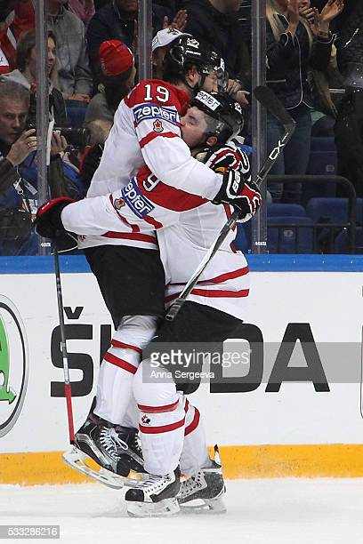 Derick Brassard of Canada celenrates his second period goal against USA with teammate Matt Duchene at Ice Palace on May 21 2016 in Moscow Russia...