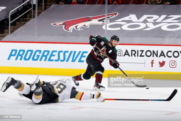 Derick Brassard of the Arizona Coyotes shoots to score a goal past William Carrier of the Vegas Golden Knights during the second period of the NHL...