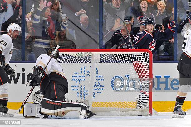 Derick Brassard of the Columbus Blue Jackets celebrates after scoring on goaltender Jonas Hiller of the Anaheim Ducks during the second period on...
