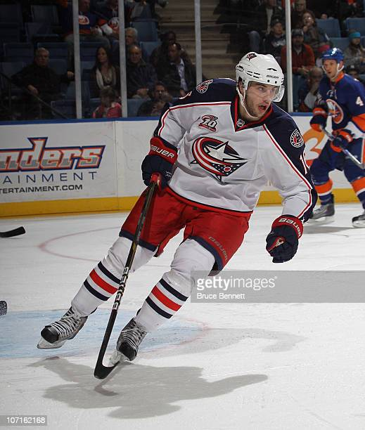 Derick Brassard of the Columbus Blue Jackets skates against the New York Islanders at the Nassau Coliseum on November 24 2010 in Uniondale New York