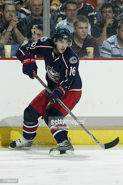 Derick Brassard of the Columbus Blue Jackets skates against the Buffalo Sabres on September 21, 2007 at HSBC Arena in Buffalo, New York.