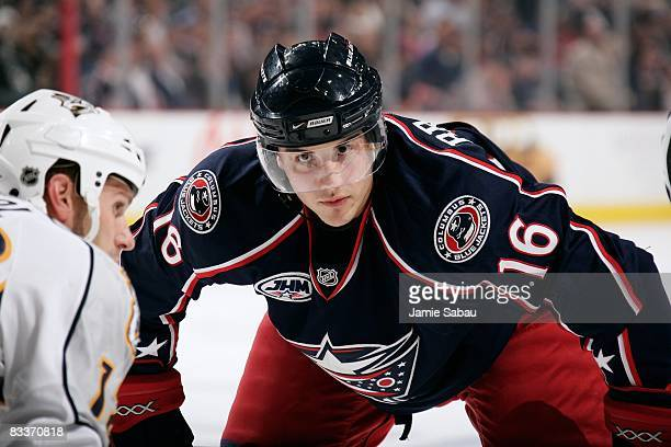 Derick Brassard of the Columbus Blue Jackets waits for a face off against the Nashville Predators on October 17, 2008 at Nationwide Arena in...