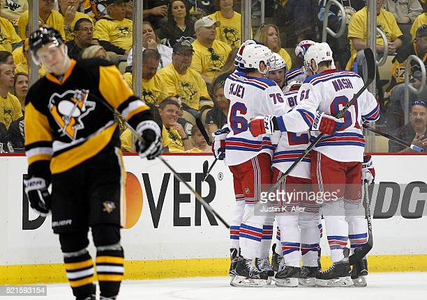 Derick Brassard of the New York Rangers celebrates with teammates after scoring in the second period in Game Two of the Eastern Conference...