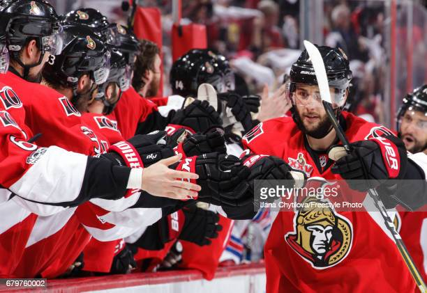 Derick Brassard of the Ottawa Senators celebrates his third period game tying goal against the New York Rangers in Game Five of the Eastern...