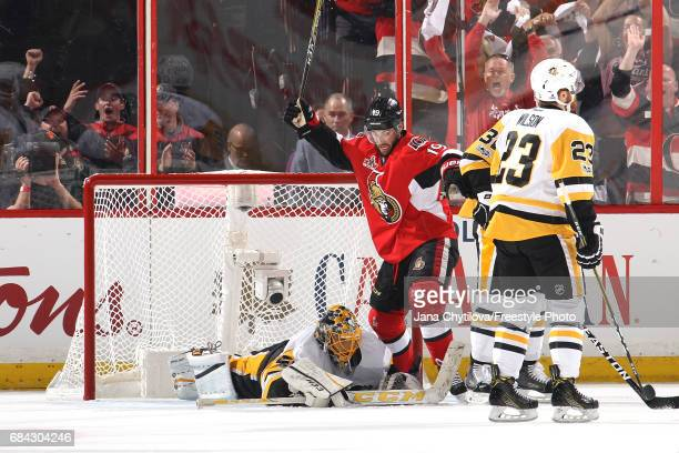 Derick Brassard of the Ottawa Senators celebrates scoring a goal against MarcAndre Fleury of the Pittsburgh Penguins during the first period in Game...