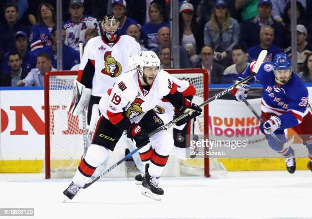 Derick Brassard of the Ottawa Senators skates against the New York Rangers in Game Three of the Eastern Conference Second Round during the 2017 NHL...