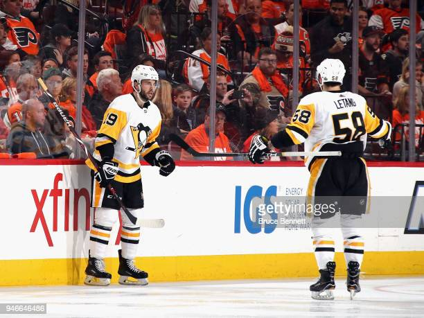 Derick Brassard of the Pittsburgh Penguins celebrates his powerplay goal at 245 of the second period against the Philadelphia Flyers and is joined by...