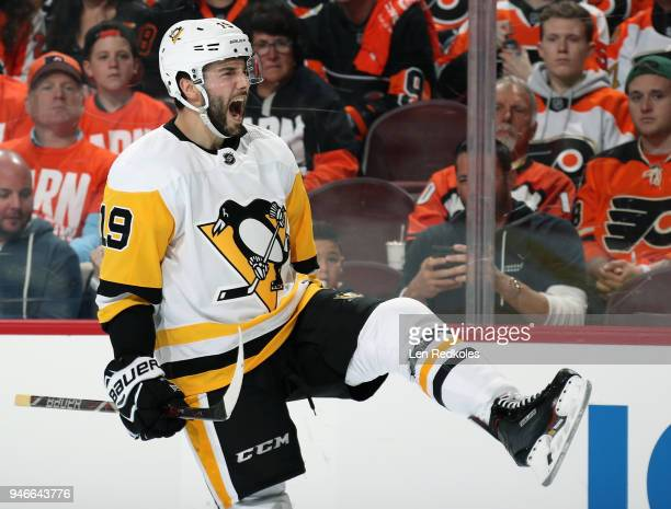 Derick Brassard of the Pittsburgh Penguins reacts after scoring a second period powerplay goal against the Philadelphia Flyers in Game Three of the...