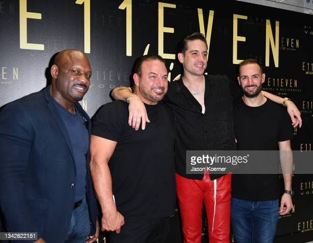 Derick Henry, Gino LoPinto, G-Eazy and Daniel Solomon G-Eazy's These Things Happen Too album release party at E11EVEN Miami On Saturday, September...
