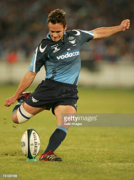 Derick Hougaard of the Bulls puts more points on the board during the Super 14 semifinal match between the Bulls and the Crusaders at Loftus Versfeld...