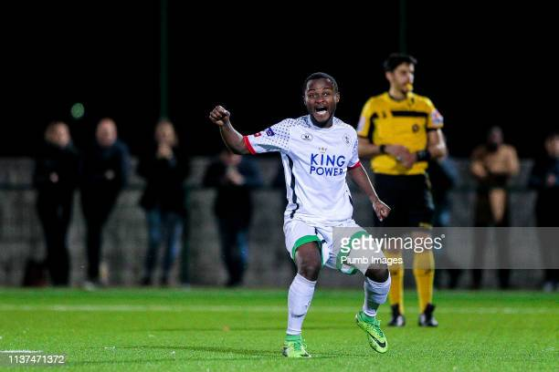 Derick Kyere of OH Leuven celebrating his penalty goal during the Reserve Pro League Cup match between OH Leuven Beloften and RSC Anderlecht Reserve...