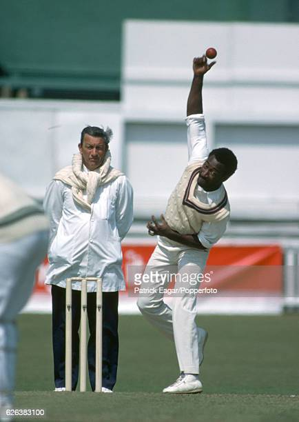 Derick Parry bowling for West Indies during the tour match between Worcestershire and the West Indians at New Road Worcester 10th May 1980 The umpire...
