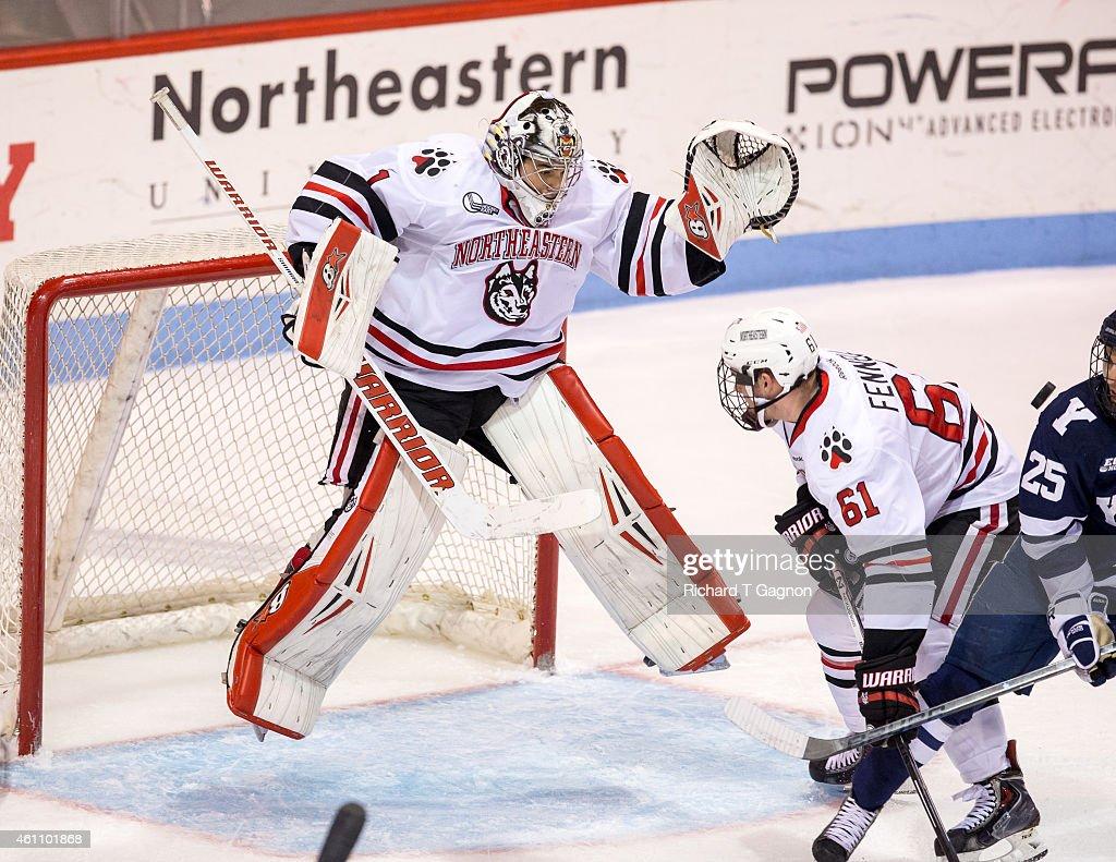 Derick Roy #1 of the Northeastern Huskies jumps in the air during NCAA hockey against the Yale Bulldogs at Matthews Arena on January 6, 2015 in Boston, Massachusetts. The Huskies won 3-2.