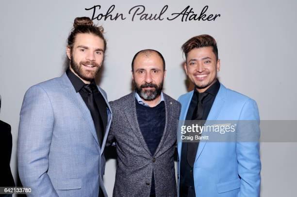 Derick Welsh Numan Ataker and Global Luxury Ambassador Pritan Ambroase poses backstage at the John Paul Ataker Fall Winter 2017 Runway Show at Pier...