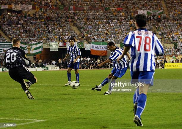 Derlei of FC Porto scores the winning goal during the UEFA Cup Final match between Celtic and FC Porto held on May 21 2003 at the Estadio Olimpico in...