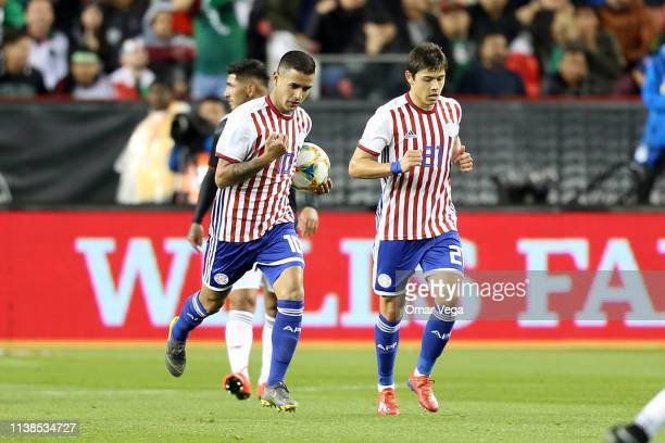 Derlis Gonzalez of Paraguay celebrated 2nd goal during the friendly match between Paraguay and Mexico at Levi's Stadium on March 26, 2019 in Santa...