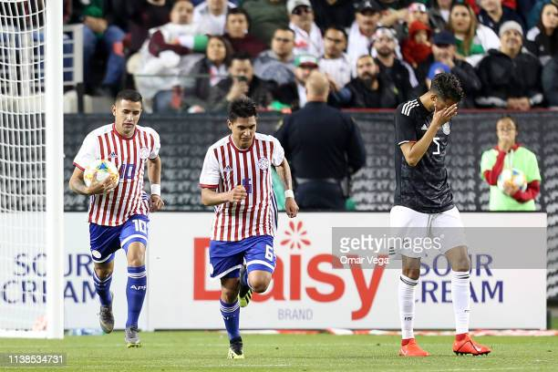 Derlis Gonzalez of Paraguay celebrated 2nd goal during the friendly match between Paraguay and Mexico at Levi's Stadium on March 26 2019 in Santa...