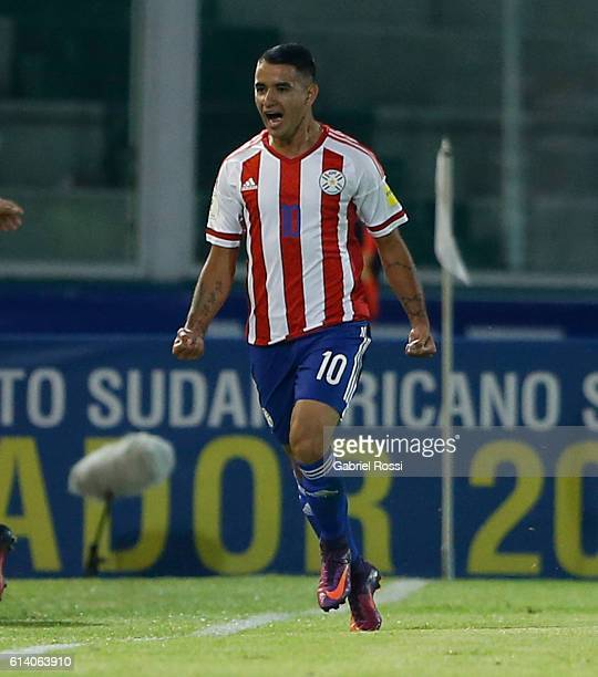 Derlis Gonzalez of Paraguay celebrates after scoring the first goal of his team during a match between Argentina and Paraguay as part of FIFA 2018...
