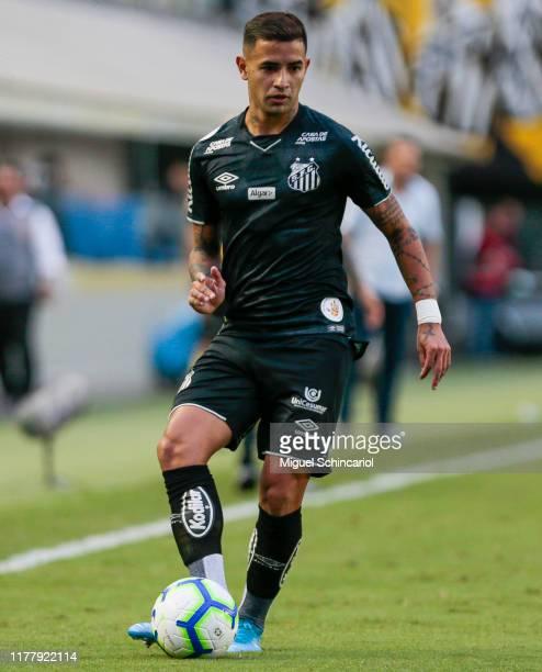 Derlis Gonzalez of Santos controls the ball during a match between Santos and CSA for the Brasileirao Series A 2019 at Vila Belmiro Stadium on...