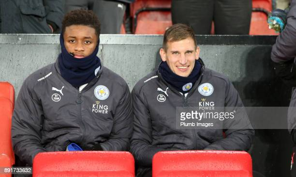 Dermarai Gray and Marc Albrighton of Leicester City on the bench at St Mary's Stadium ahead of the Premier League match between Southampton and...