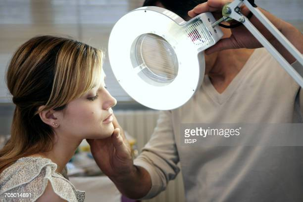 dermatology, symptomatology, wom - skin cancer face stock photos and pictures