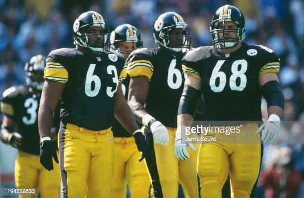 Dermontti Dawson and Brendan Stai of the Pittsburgh Steelers during the National Football Conference Central game against the Jacksonville Jaguars on...