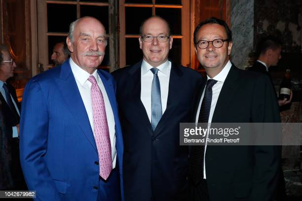 Dermot Desmond Prince Albert II de Monaco and Chairman of the 2018 Ryder Cup France Commission Pascal Grizot attend the Ryder Cup Dinner at Chateau...