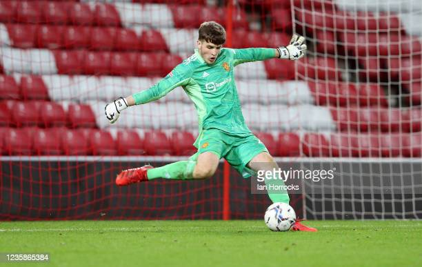 Dermot Mee of Manchester United during the Papa John's Trophy match between Sunderland and Manchester United at Stadium of Light on October 13, 2021...