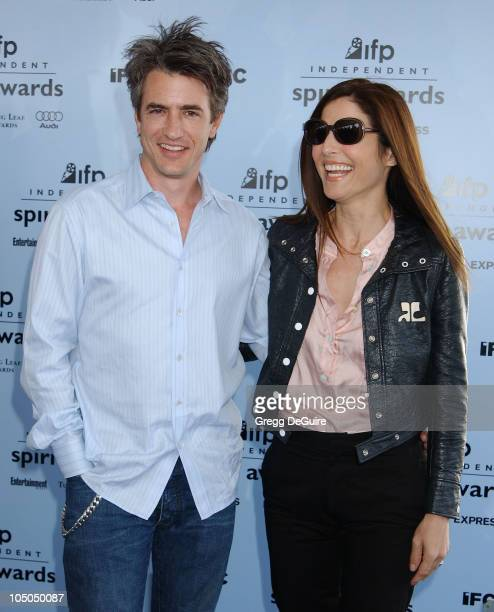 Dermot Mulroney and his wife Catherine Keener during The 18th Annual IFP Independent Spirit Awards Arrivals at Santa Monica Beach in Santa Monica...