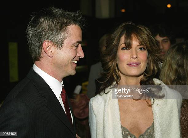Dermot Mulroney and Lara Flynn Boyle at the premiere of About Schmidt at the Academy of Motion Pictures Arts and Sciences in Beverly Hills Ca...
