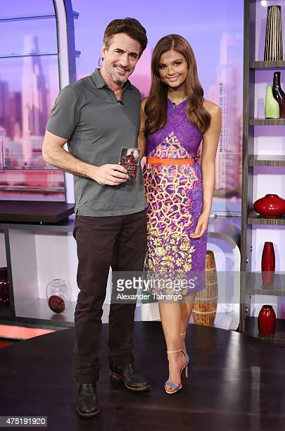 """Dermot Mulroney and Stefanie Scott are seen on the set of """"El Gordo y la Flaca"""" to promote their film """"Insidious: Chapter 3"""" at Univision Studios on..."""