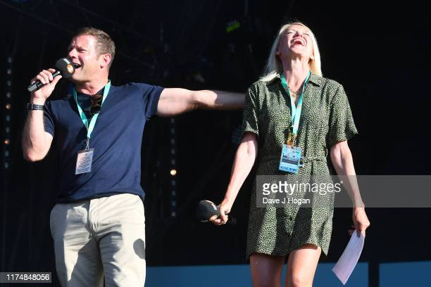 Dermot O'Leary and Anneka Rice speak on stage during BBC2 Radio Live 2019 at Hyde Park on September 15 2019 in London England
