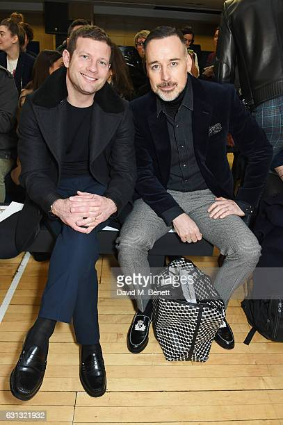 Dermot O'Leary and David Furnish attend the Vivienne Westwood show during London Fashion Week Men's January 2017 collections at Seymour Leisure...