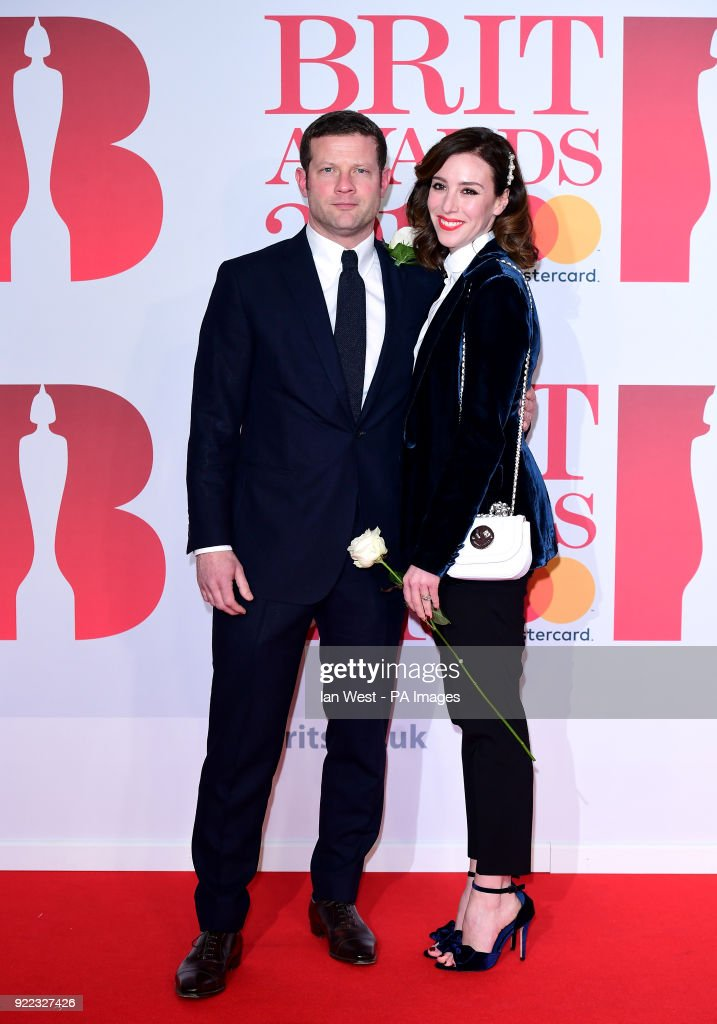 Dermot O'Leary and Dee Koppang attending the Brit Awards at the O2 Arena, London.