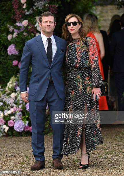 Dermot O'Leary and Dee Koppang seen arriving at the wedding of Ant McPartlin and Anne-Marie Corbett at St Michael's Church in Heckfield on August 07,...