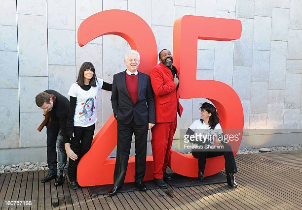 Dermot O'Leary Claudia Winkleman Richard Curtis Lenny Henry and Emma Freud attend a photocall to celebrate 25 yeas of Red Nose Day for Comic Relief...