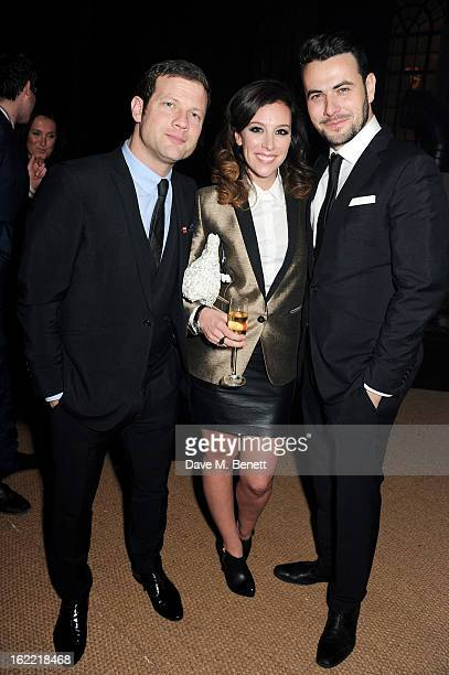 Dermot O'Leary Dee Koppang and Ben Winston attend the Universal Music Brits Party hosted by Bacardi at the Soho House popup on February 20 2013 in...