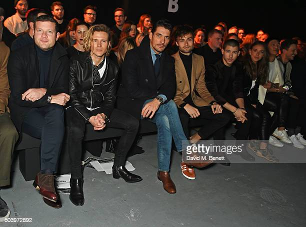 Dermot O'Leary Dougie Poynter David Gandy Douglas Booth Nick Jonas Chloe Green and Bryanboy attend the TOPMAN Design Front Row during London...