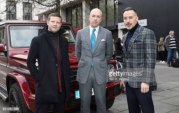 Dermot O'Leary Dylan Thomas and David Furnish pose for a photo at the BFC Show Space The Store Studios during London Fashion Week Men's January 2017...