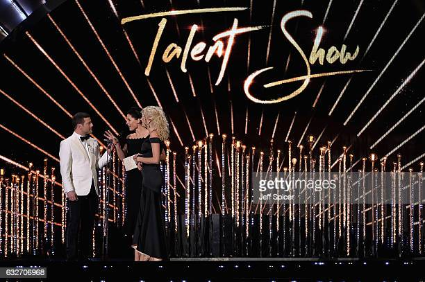 Dermot O'Leary Emma Willis and Pixie Lott on stage during the National Television Awards at The O2 Arena on January 25 2017 in London England