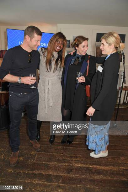 Dermot O'Leary, June Sarpong, Dee Koppang O'Leary and Jodie Whittaker attend a drinks reception at Soho House to celebrate the announcement of a...