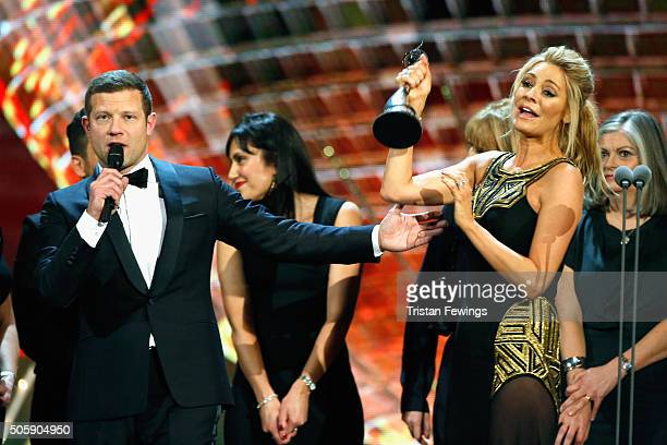 Dermot O'Leary presents the award for Best Talent Show to Tess Daly of Strictly Come Dancing at the 21st National Television Awards at The O2 Arena...