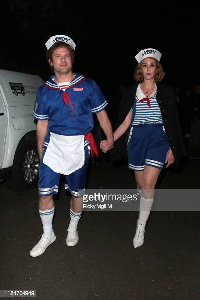 Dermot O'Leary seen attending Jonathan Ross Halloween party on October 31 2019 in London England