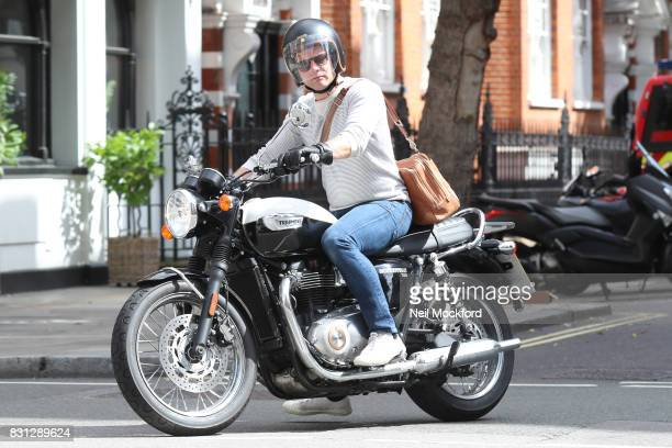 Dermot O'Leary seen on his motorbike on August 14 2017 in London England