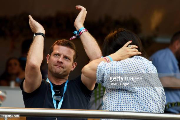 Dermot O'Leary watches The Killers from The Barclaycard VIP area at the Barclaycard Presents British Summer Time Festival in Hyde Park on July 8 2017...