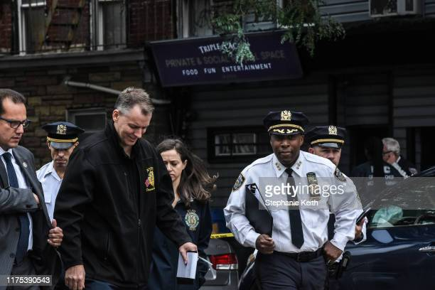Dermot Shea NYPD Chief of Detectives and Rodney Harrison NYPD Chief of Patrol are seen at a crime scene in front of the Triple A Aces social club on...