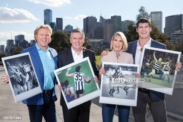 Dermott Brereton Eddie McGuire Sarah Jones and Jonathan Brown show off their favorite finals moments with their polaroids during the FOX FOOTY AFL...